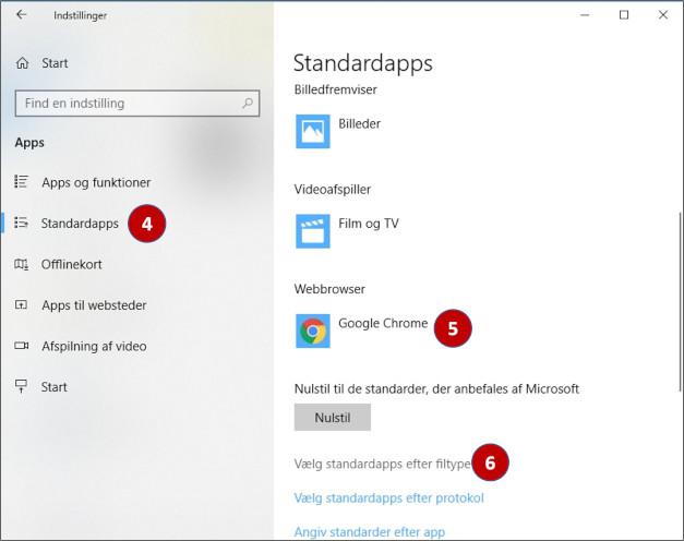 Indstil standardprogram i Windows 10