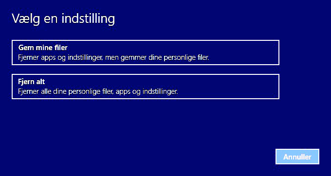 Nulstil/Gendan Windows 10
